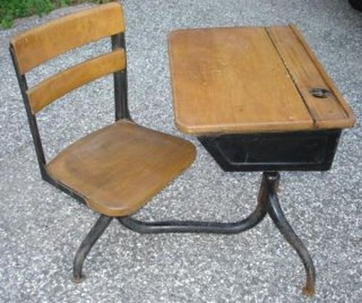 School Desk & Chair w/ Ink Well - Black Cat Relics Antiques & Vintage Jewels - 1920's American Seating Co. School Desk & Chair W/ Ink Well
